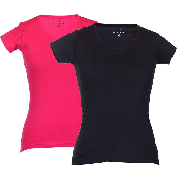 TeesTadka Women Plain VNeck T Shirt Pack of 2