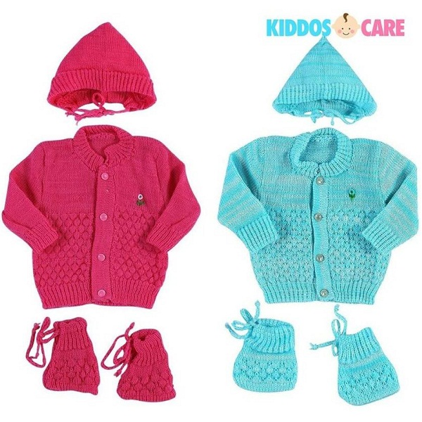 KiddosCare Set Of 2 Woollen Knitted Baby Sweater