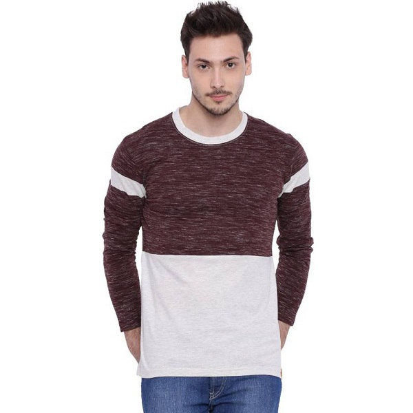 Campus Sutra Solid Mens Round Neck Multicolor T Shirt