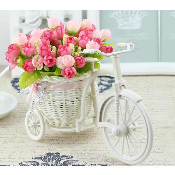 Tiedribbons Cycle shape Flower Vase with Peonies Bunches