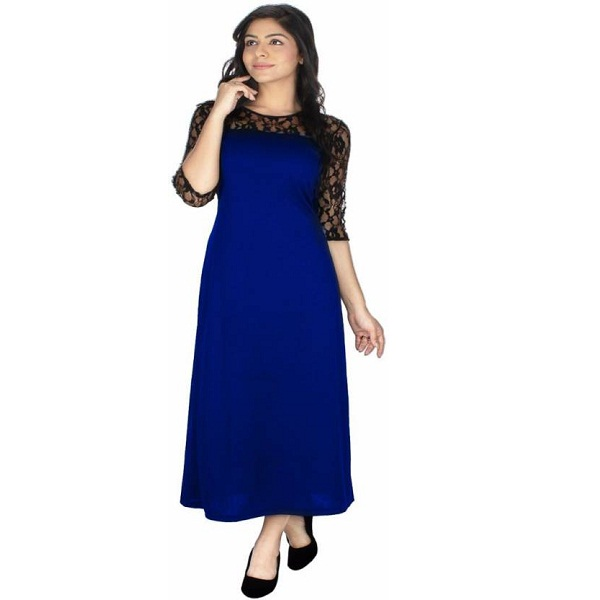 Crease And Clips Womens A line Maxi Blue Dress
