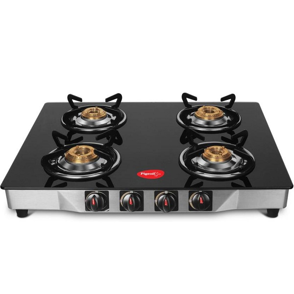 Pigeon Ultra Glass Stainless Steel Manual Gas Stove 4 Burners