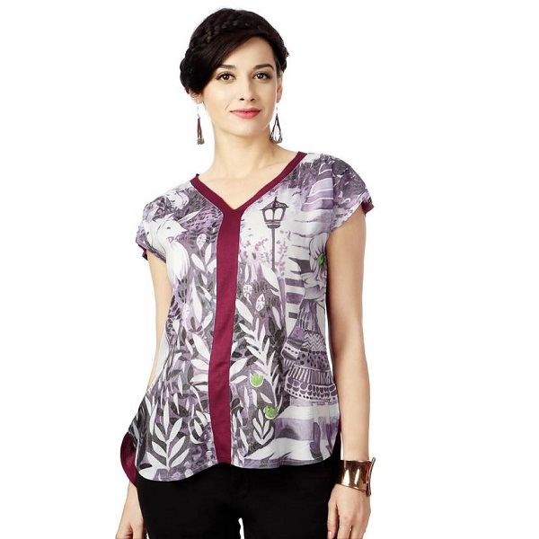 People Casual Short Sleeve Printed Womens Purple Top