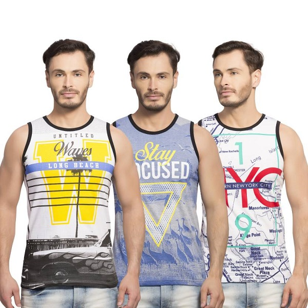 Maniac Printed Mens Round Neck Multicolor TShirt Pack of 3