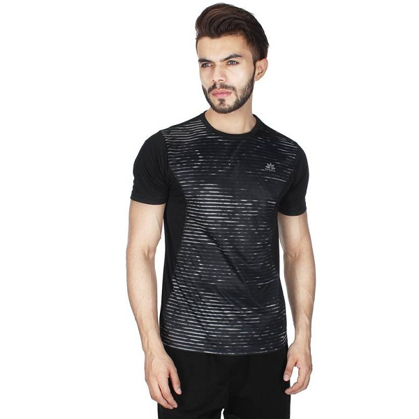 Creez Printed Mens Round Neck Black TShirt