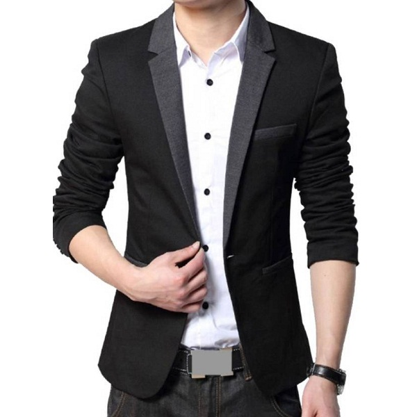 Beetle Solid Single Breasted Party Mens Blazer