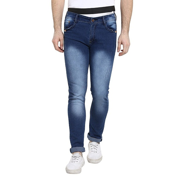 Urbano Fashion Light Distressed Blue Slim Fit Stretch Jeans