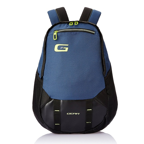 Gear 23 ltr Navy Blue and Green Casual Backpack