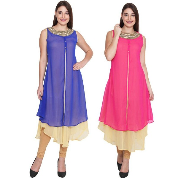 FPC Creations Pack of 2 Solid Womens Kurti