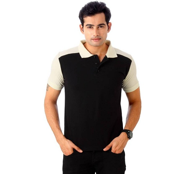 Top Notch Solid Mens Polo Neck Black TShirt