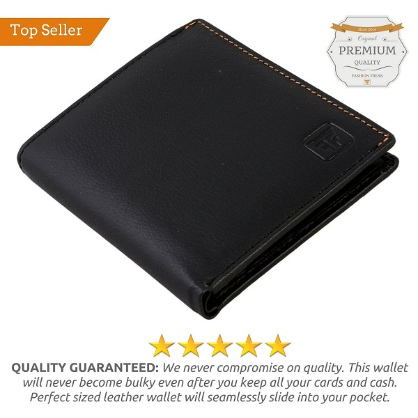 Fashion Freak Genuine Leather Bi Fold Black Wallet