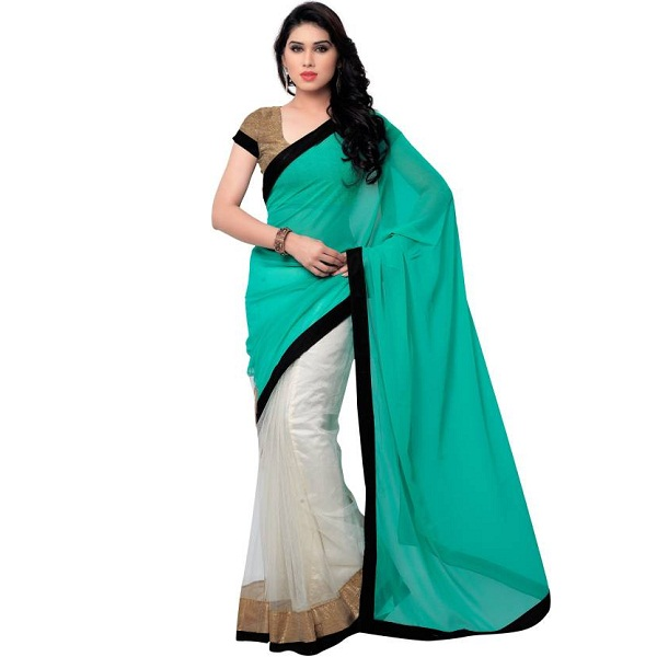 Satya Sita Self Design Fashion Georgette Sari