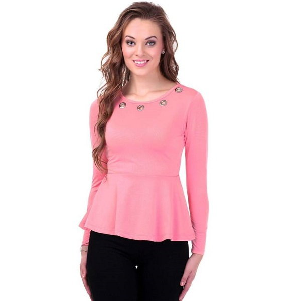 Sassafras Casual Full Sleeve Solid Womens Pink Top