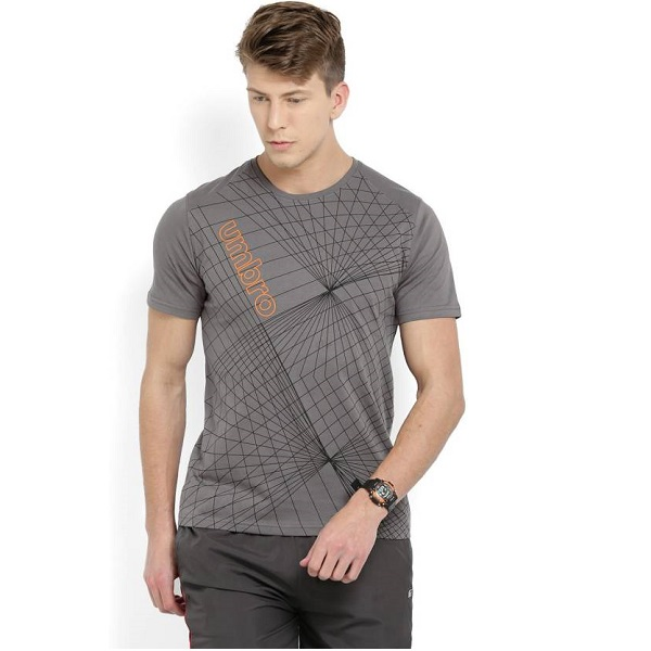 Umbro Printed Mens Round Neck Grey TShirt