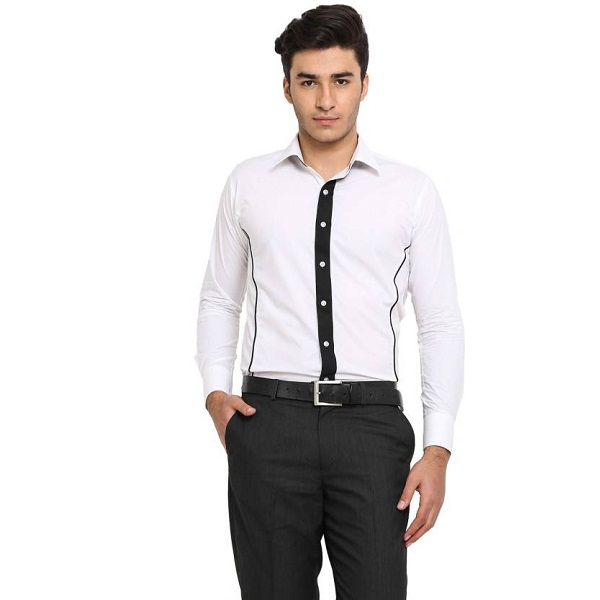 Protext Mens Solid Casual White Shirt