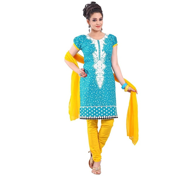 Cenizas embroidered Semi Stich Salwar Suit Duptta