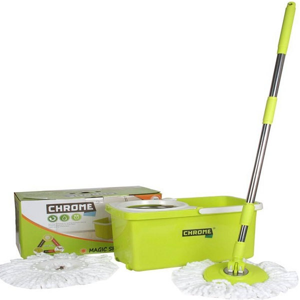 Chrome Stainless Steel Spin Mop Set