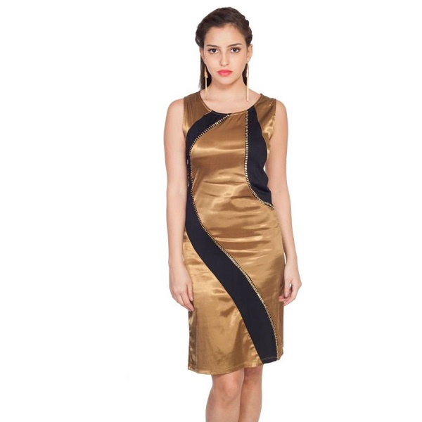 SOIE Womens Aline Gold Dress