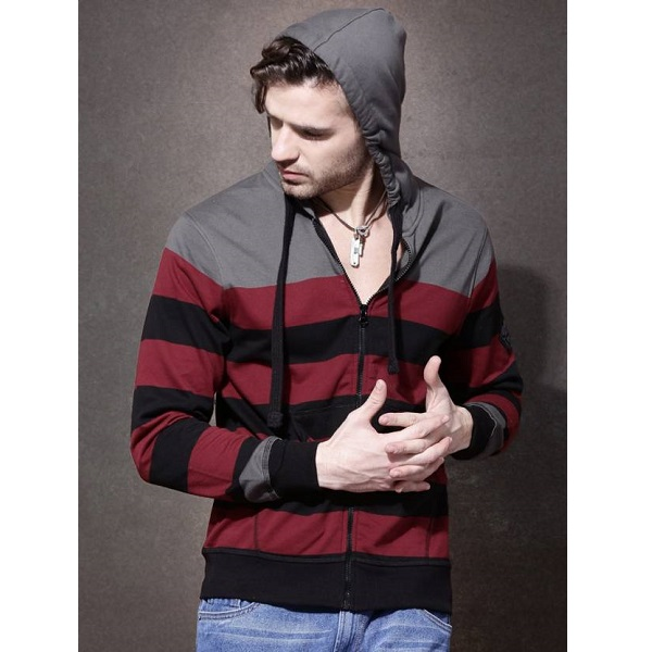 Roadster Full Sleeve Self Design Mens Sweatshirt