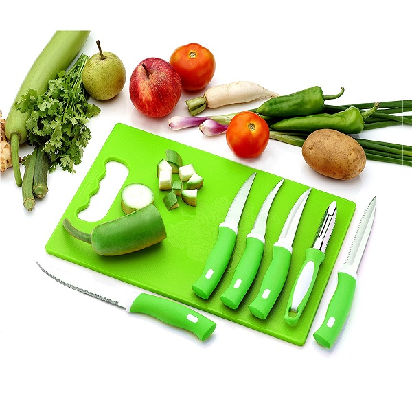 BMS Lifestyle Chopping Board With 6 Pcs Knife Set