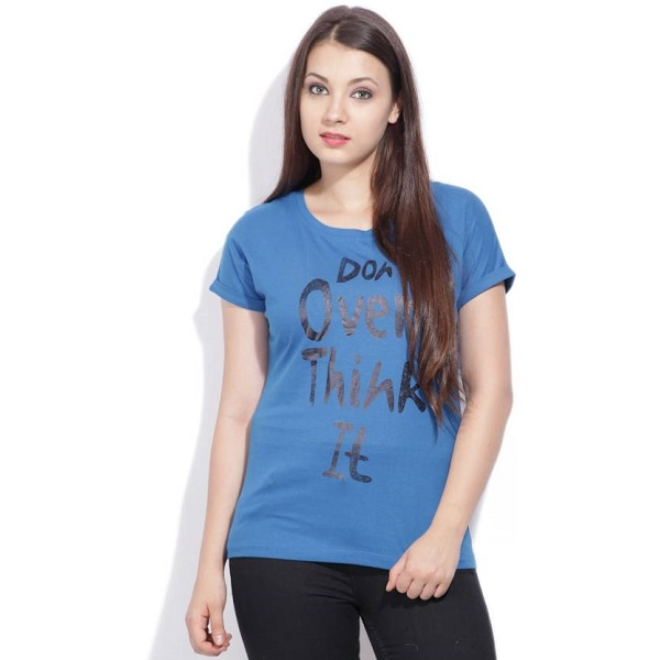 Flying Machine Printed Womens Round Neck Blue TShirt