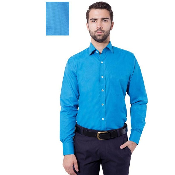 Tag And Trend Mens Solid Formal Blue Shirt