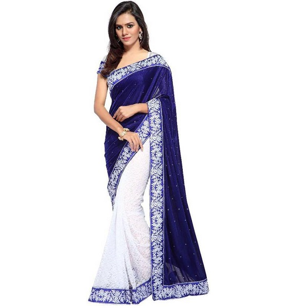 Fashion Founder Embroidered Fashion Net Velvet Sari