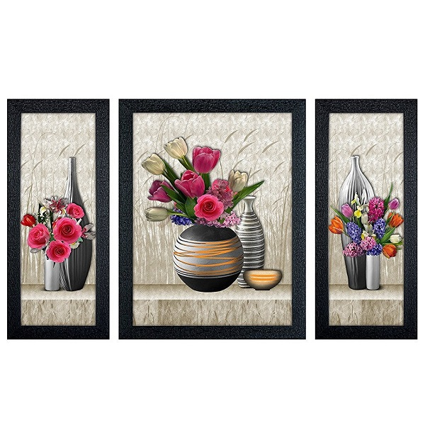 Delight Flower Poster with Black Frame Set of 3