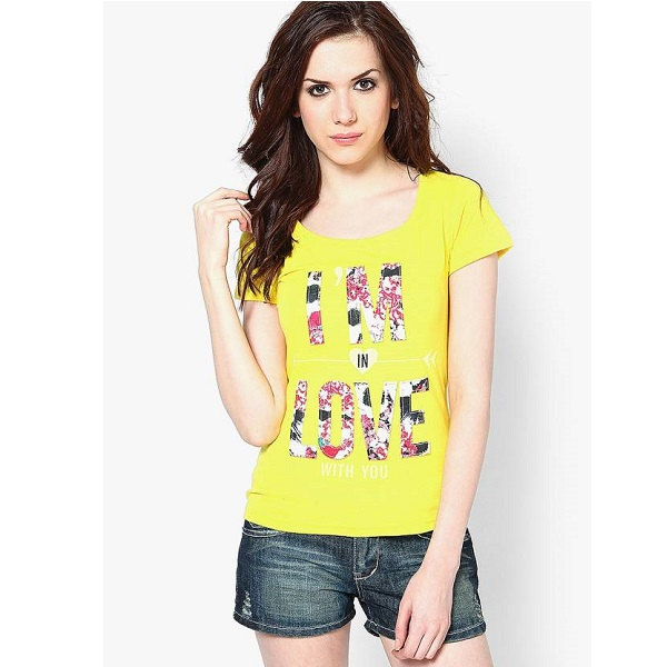 Only Graphic Print Womens Round Neck Yellow TShirt