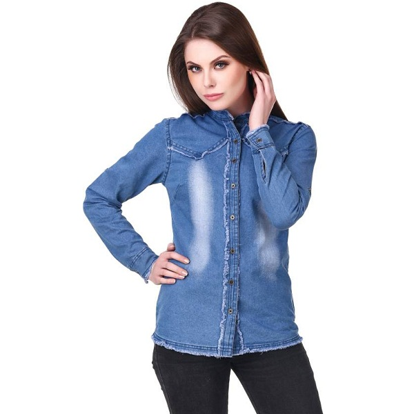 Clo Clu Womens Solid Casual Denim Blue Shirt