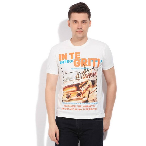 Integriti Printed Mens Round Neck White TShirt