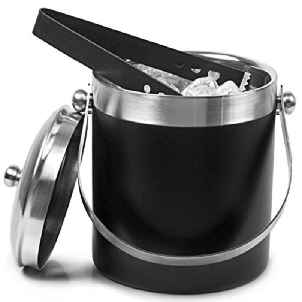 king traders Stainless steel Ice Bucket Black
