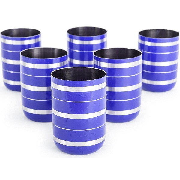 King International Stainless steel Blue Glass 6Pcs