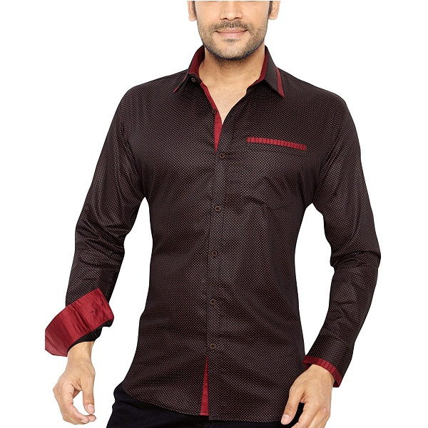 GlobalRang Mens Cotton Polka Printed Casual Shirt