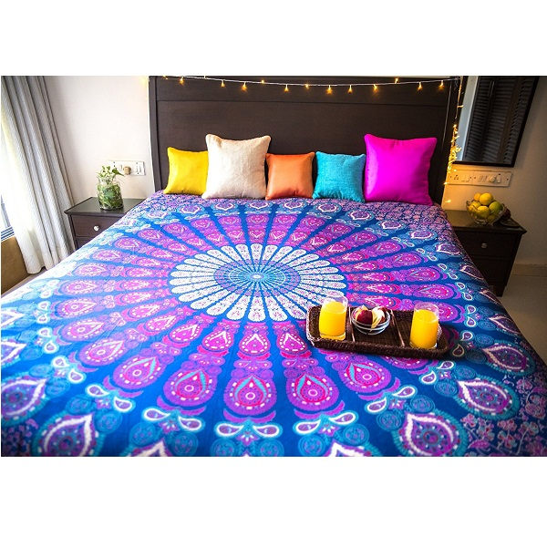 Folkulture Peacock Parade Double Bed Bedsheet Set