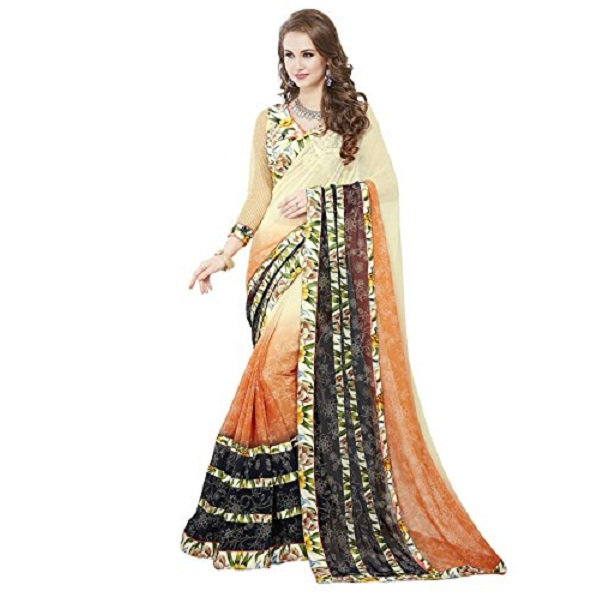Panchratna Women Embroidered Georgette Saree