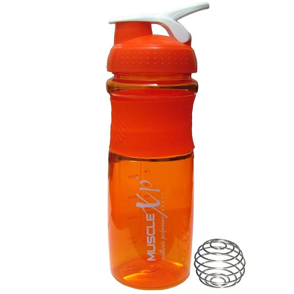 MuscleXP Trendy Orange Shaker Bottle With Steel Ball 500ml