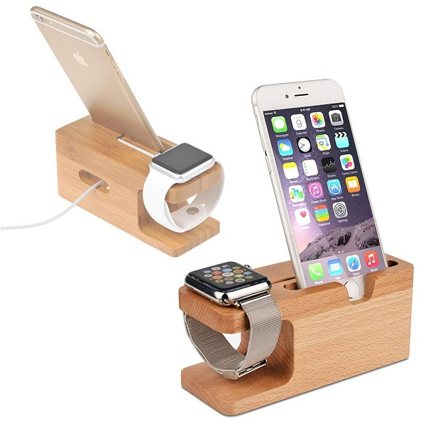 Shopizone Natural Bamboo Wooden Stand and Mobile Phone Holder