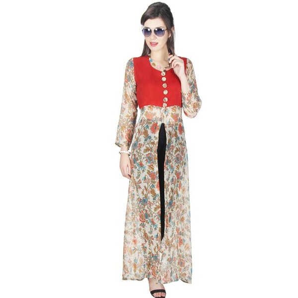 Crease And Clips Casual Floral Print Womens Kurti