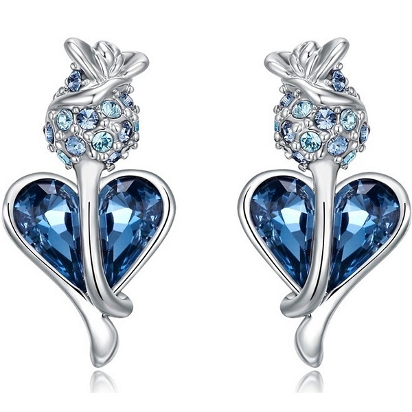 NEVI Heart Fashion Swarovski Crystals Rhodium Plated Stud Earrings
