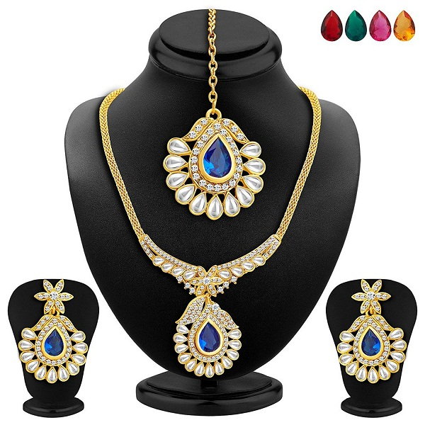 Sukkhi Resplendent Gold Plated AD Necklace Set