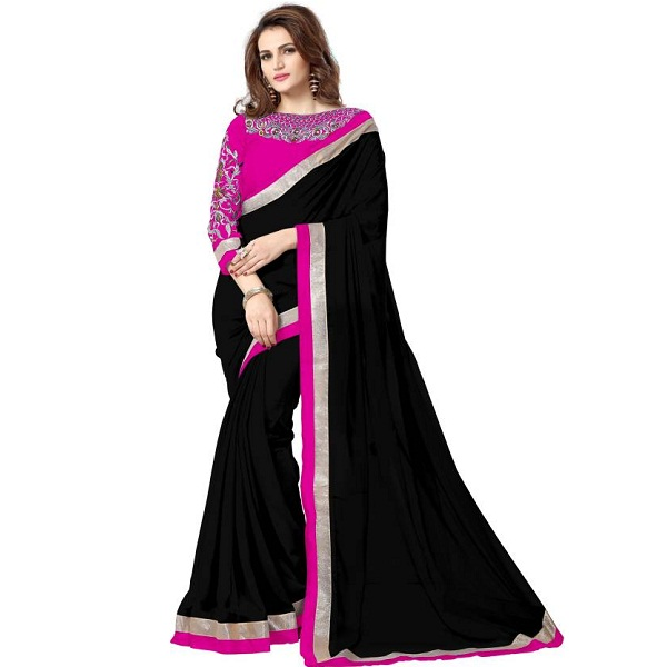 onlinefayda Embroidered Daily Wear Chiffon Saree