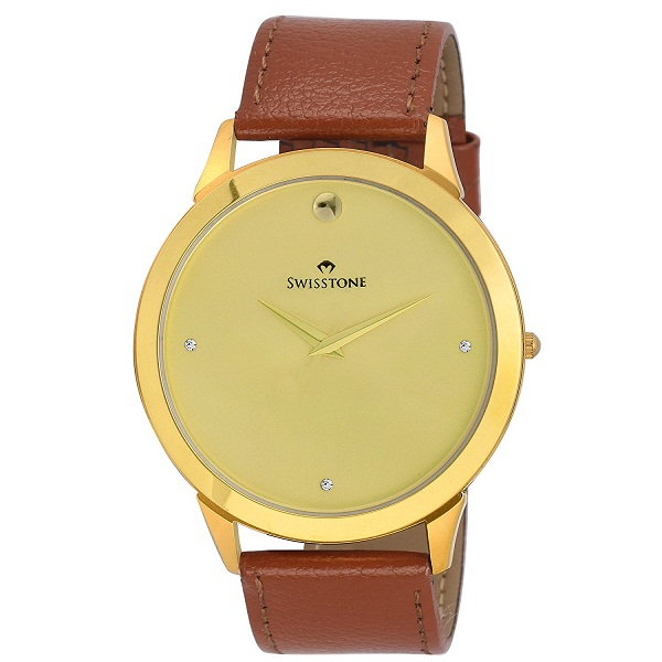 Swisstone Brown Leather Strap Slim Wrist Watch