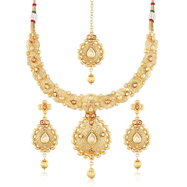 I Jewels 24K Gold Plated Traditional Jewellery Set