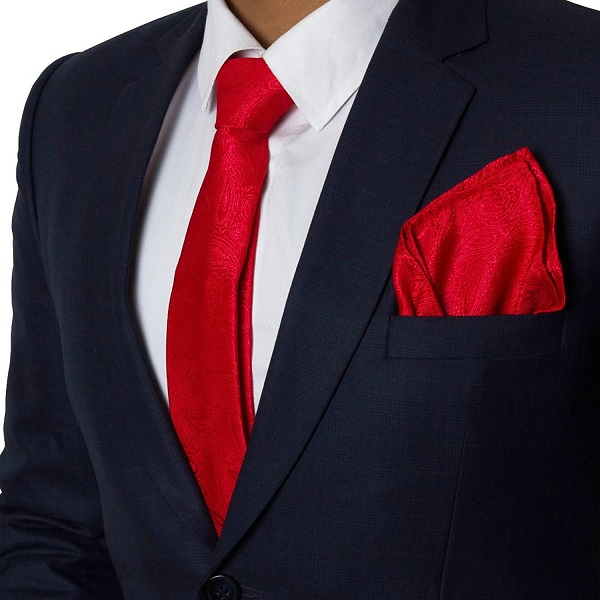 Vibhavari Mens Red Tie and Pocket Square