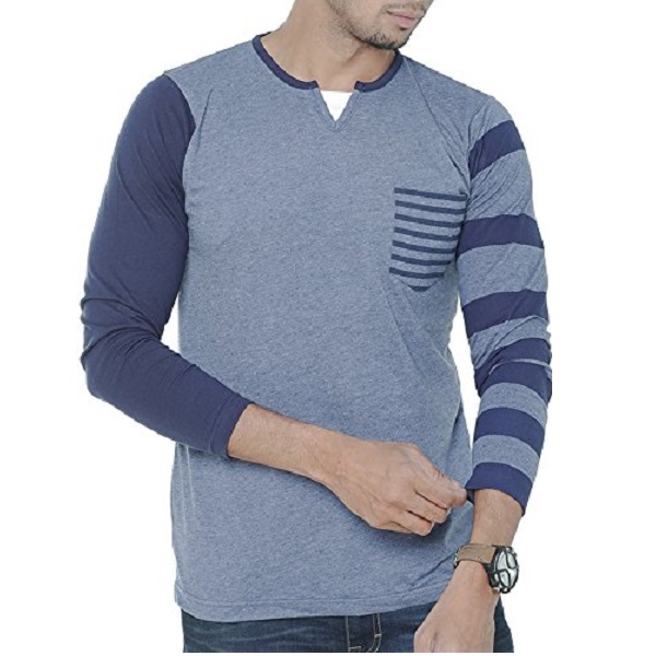Wexford Mens Cotton Henley Neck Full Sleeves Casual TShirt