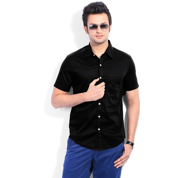 Numero Uno Mens Solid Casual Black Shirt