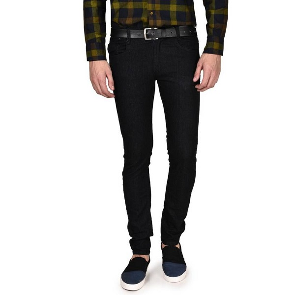Routeen Slim Mens Black Jeans