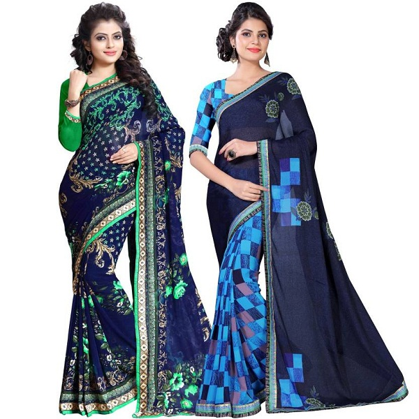 Floral Print Fashion Chiffon Saree