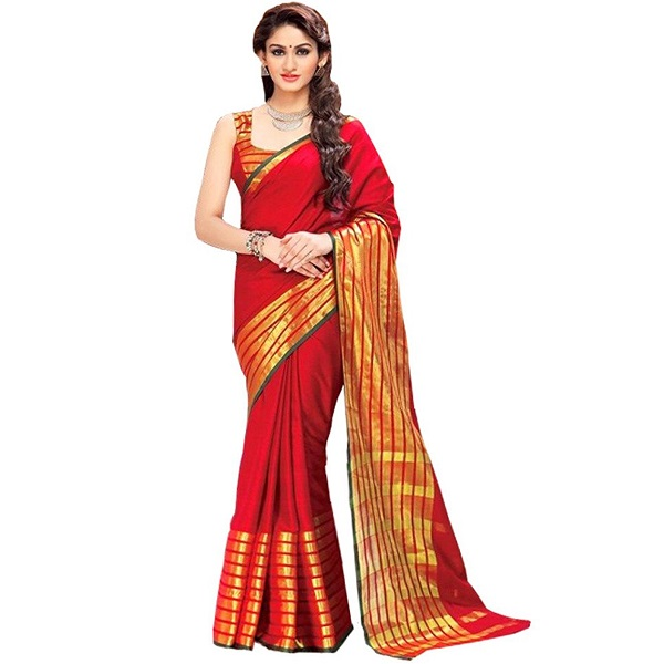 Glory Sarees Womens Poly Cotton Ethnic Wear Saree